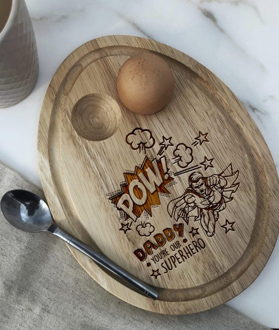 Daddy Superhero - engraved laser wooden Oval Egg Breakfast Board