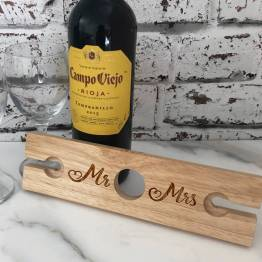 Mr and Mrs Wine Glass Holder 6 - Mr & Mrs Wooden Wine Glass & Bottle Butler Holder