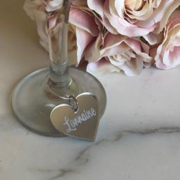No Colour Charm - Personalised Names - Wine Glass Heart Charms