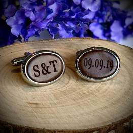 Oval Cordovan Cufflinks - Personalised Initial Oval Cufflinks 3rd Wedding Anniversary Gift