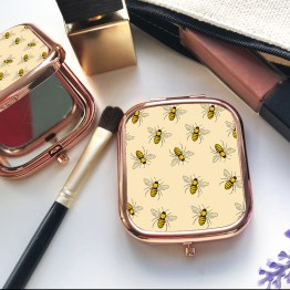 Bees BSQR RG CM1 Square Rose Gold Compact Mirror - Bees Square Rose Gold Compact Mirror