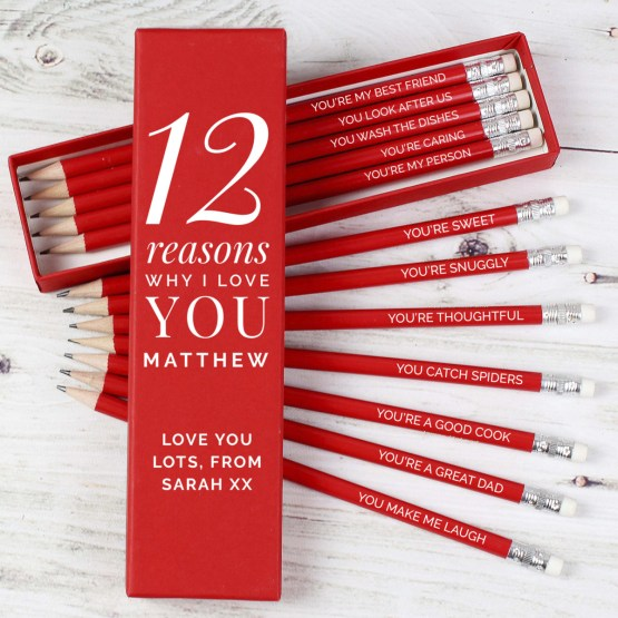 Our Personalised Twelve Reasons Why I Love Red Pencil Set is just the cutest!