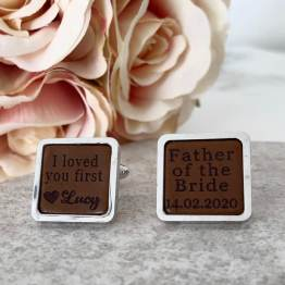 Father of the bride cufflink front view - Personalised Father of the Bride Square Cufflinks