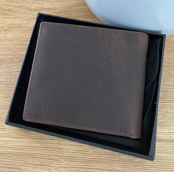 Back View Brown Leather Wallet - Personalised Leather Brown Wallet, RFID Protected Anniversary Wedding Gift