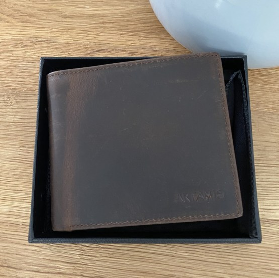 Front View Brown Leather Wallet - Personalised Leather Brown Wallet, RFID Protected Anniversary Wedding Gift