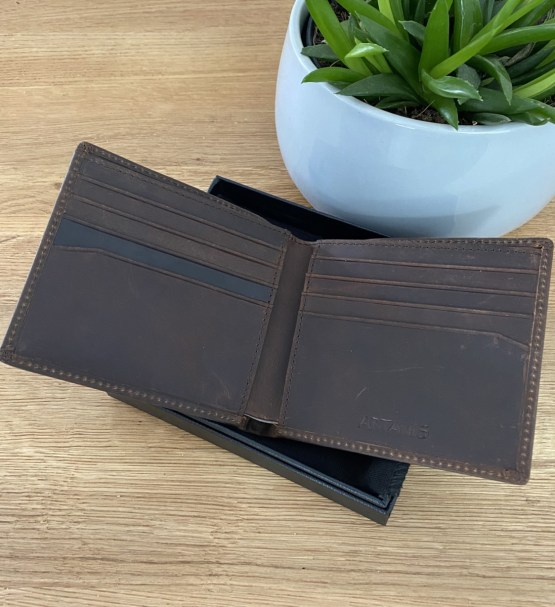 Open View Brown Leather Wallet - Personalised Leather Brown Wallet, RFID Protected Anniversary Wedding Gift
