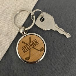 Personalised Initials Metal Wood Golf Clubs keyring - Personalised Golf Ball Shape Wood - Metal Keyring
