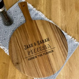 design 3 Pizza Paddle Round Chopping Board Mockup - Personalised Names, Pizzeria Paddle Board, Pizza Chopping Board