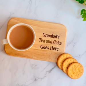 Tea Tray Grandad's Tea and Cake Goes Here Campers Rectangle Tea/coffee Tray Board - Family Gift