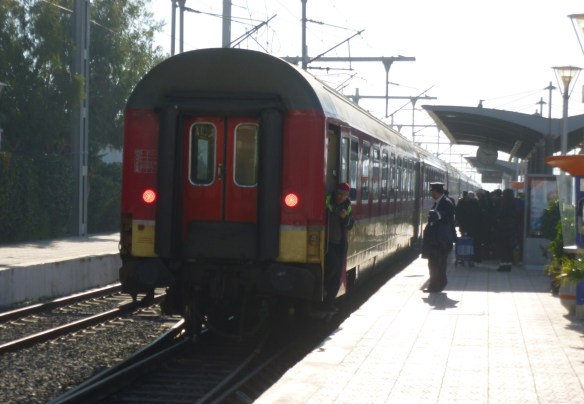 The train backed into the station about 20 minutes prior to departure.  The first class car was on the back of the train.  I cannot say for sure, but I believe that the first class car was on the back of the train so that it was the shortest walking distance for the passengers in first class.