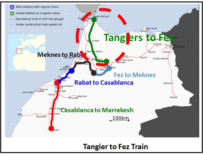 The train from Tangier that I took is inside the area circled in red.
