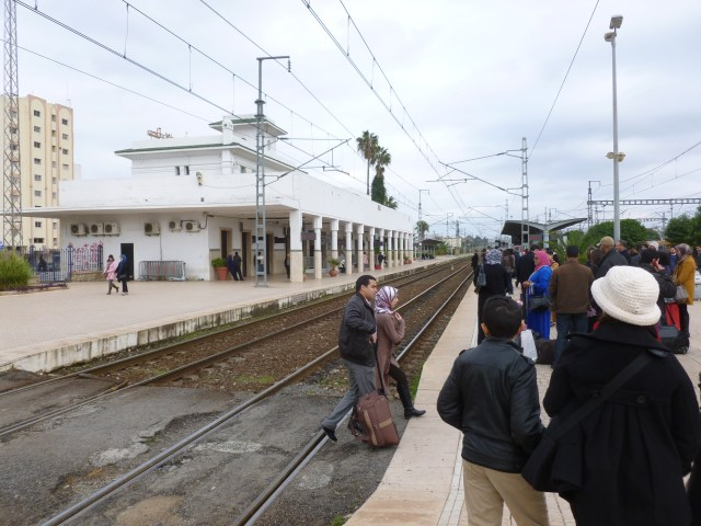 This is the boarding area at Gare de Meknes.  You have to walk across one of the tracks to get to the boarding area.