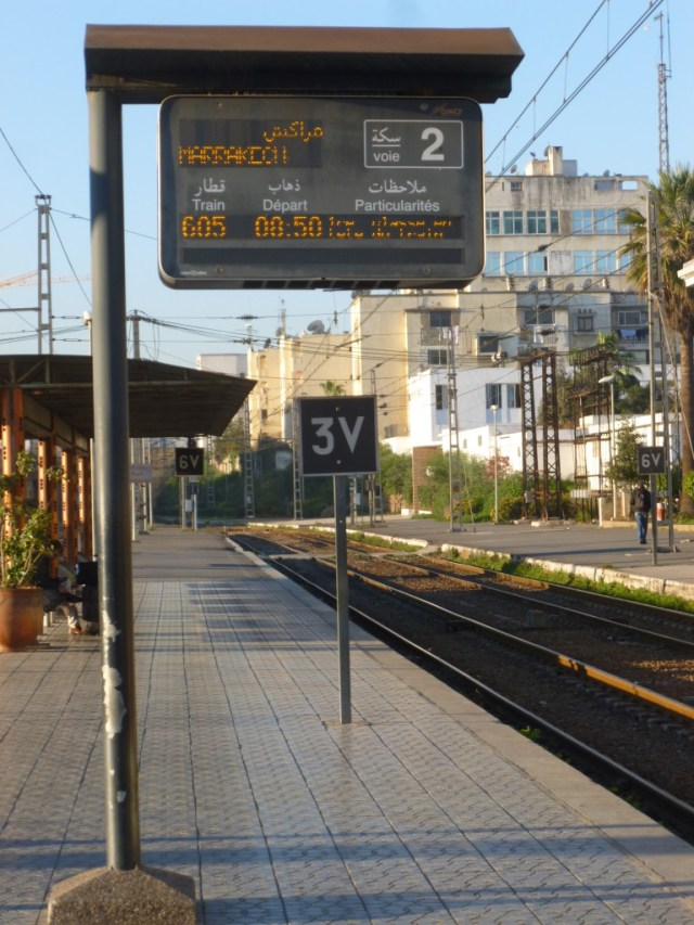 Several trains passed through Gare de Casa Voyageurs while I was waiting to the Marrakech train, but I finally noticed its arrival so that I could board.