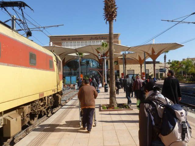 Arriving, I walked from the arrival area into Gare de Marrakech.