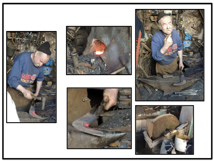 Blows blades are made in a adjoining shop.  It takes this blacksmith a whole day to forge, shape, and sharpen a plow blade.  All one days work, he will get the equivalent of about $20 US.  Notice the top right pictures.  The blacksmith only has one eye.  An accident one day cause hot lead to get into his eye.  Can you imagine pounding the hot metal and only have one eye to watch what you are doing.  I have two eyes and usually hit one of my fingers any time I pound something.  I guess that is why I am not a plumber.  The blacksmith is a berber, and remained in Sefrou after the remained of his family emigrated to Canada.