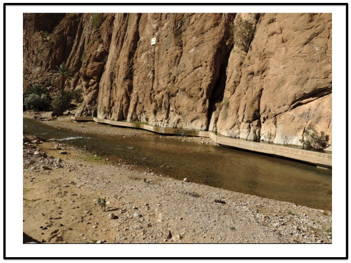 We crossed the river prior to leaving Todra Gorge.  Notice the cement acquduct on the right side of the river.  This was constructed for have an efficient source of irrigation water for the Tinghir Oasis.