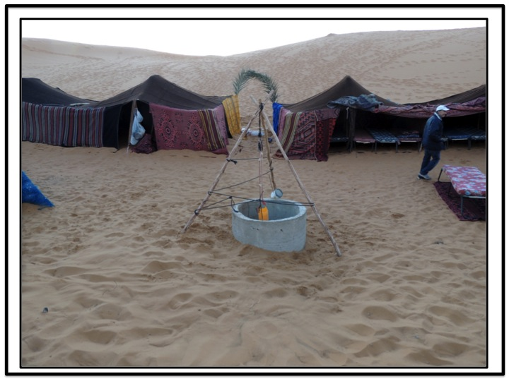 There was a well for the camp.  I was quite surprised to learn that the water table in the sand dunes close to Merzouga is very close to the surface.