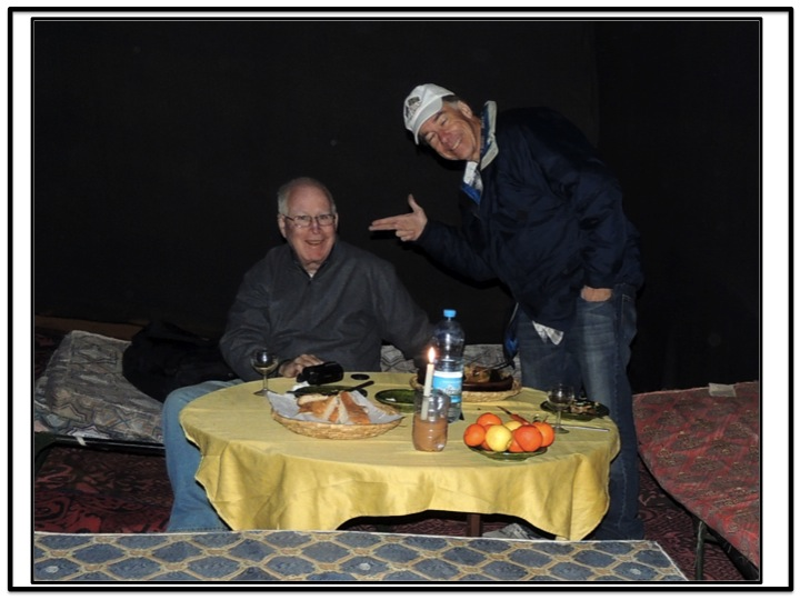 As we got ready for dinner, I was again not quite sure how Chuck was feeling about his tour into the Sahara.