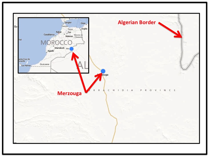 Merzouga is located in Southeastern Morocco near the Algerian border.  It was also, and still is to some extent, a major location on trading routes in and out of the Sahara.