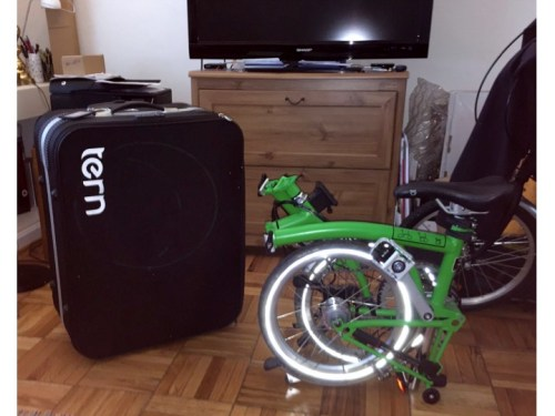 My Brompton H6L folded and almost ready to put into my Tern Airporter Mini