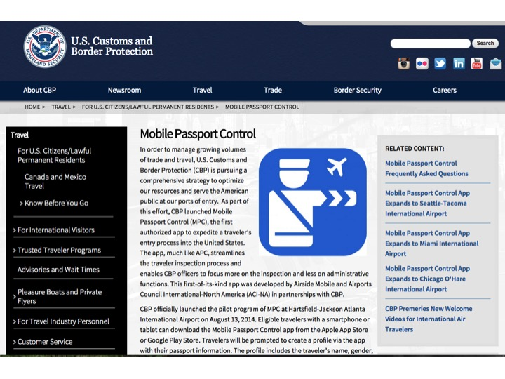 The U S Customs and Borer Protection website for Mobile Passport can be viewed by clicking on the picture.