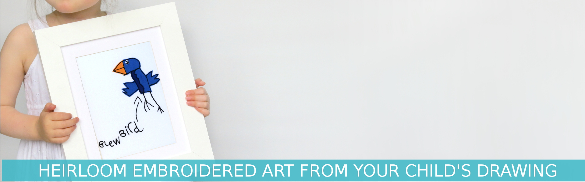 Custom embroidery service to make embroidered art from your child's art