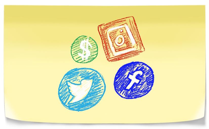 Social Media Logos and cash symbol