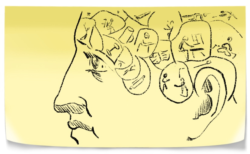 Drawing of man's face. His head is filled with changing habits.