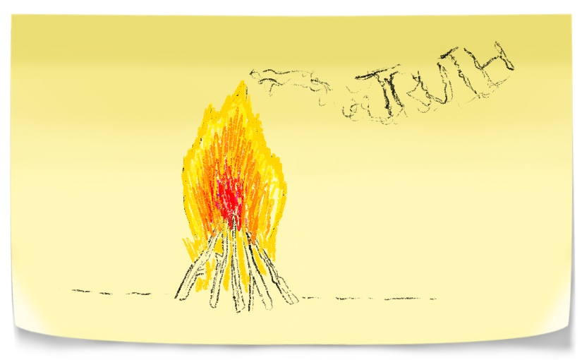 Camp fire with smoke revealing word truth. A Symbole of Self-awareness.