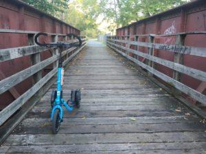 Blue Me-Mover on old wood plank bridge