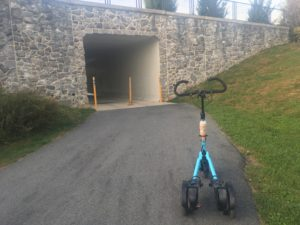 Blue Me-Mover at entrance to stone tunnel