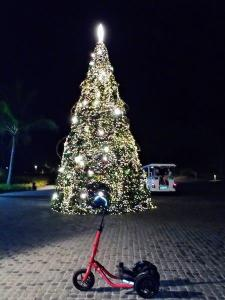 A nighttime scene of a red Me-Mover in front of a tall Christmas tree with white lights.
