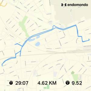 Endomondo route map showing a ride of 29 minutes 7 seconds for 4.62 kilometers in Slagelse, Denmark