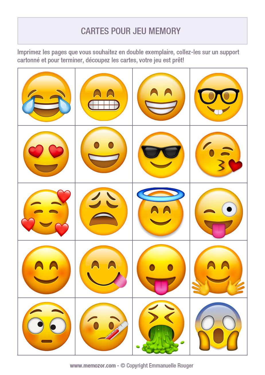 Jeu De Memory A Imprimer Avec Des Emoji 1 Imprimez Et Decoupez Les Cartes Memozor