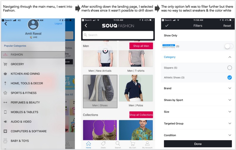 Souq's navigation left a lot to be desired as I couldn't navigate it to my desired selection and hit a dead-end