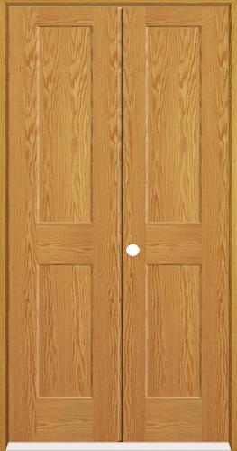 Mastercraft Oak Flat 2 Panel Prehung Interior Double Door