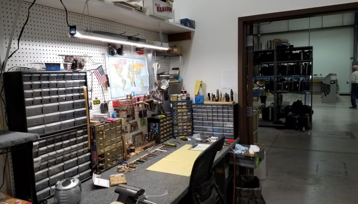 Typical bench and work area for an instrument repair technician.