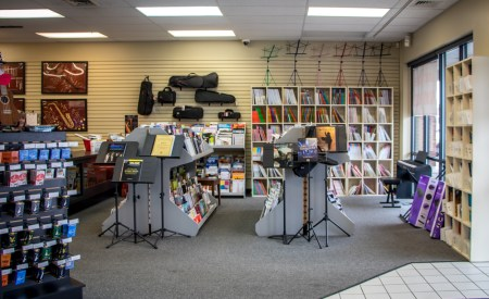 Our Lancaster store featuring the wide selection of music we carry and music stands.