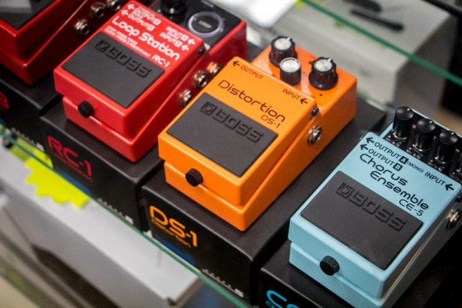 An assortment of guitar effects pedals manufactured by Boss.