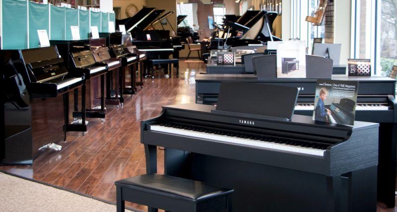 Yamaha pianos on display