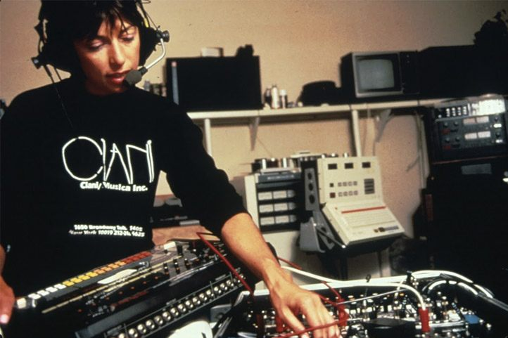 Suzanne Ciani working at her studio.