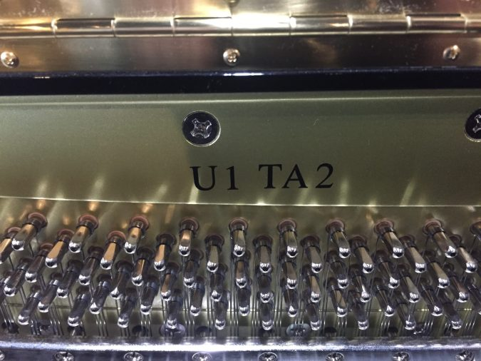 Model U1 TA2 stamped on frame of piano, pin block visible