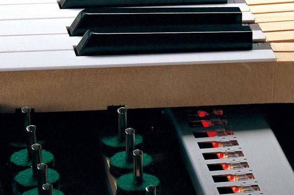 Close up of inside of Yamaha Disklavier piano