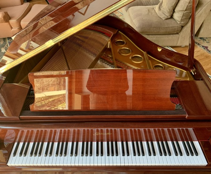 Ritmuller piano, top view showing keys and open lid