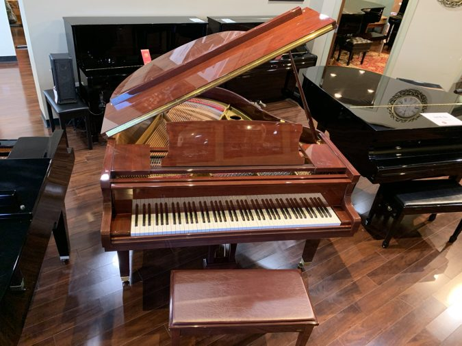 Ritmuller grand piano front view, lid open