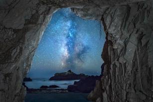 Supermoon Lunar Eclipse, Sea Ranch, Sea cave and the Milky Way, Paul Kozal