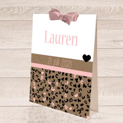 Tentkaartje met kraft roze luipaardprintje