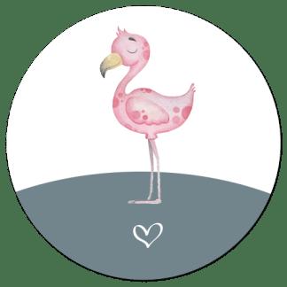Wandcirkel/Wandsticker flamingo junglediertje