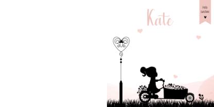 Geboortekaartje meisje op bakfiets