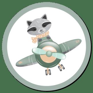 Wandcirkel/Wandsticker Wasbeer in vliegtuigje